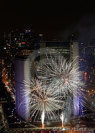 Toronto New Years Eve Fireworks 2012 Editorial Stock Image