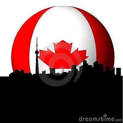 Toronto skyline with Canadian flag sphere