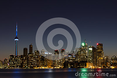 Toronto Skyline at Dusk with copyspace Stock Photo