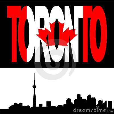 Toronto skyline with flag text