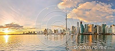 Toronto skyline at sunset in Ontario, Canada. Stock Photo