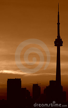 Toronto sunset,CN tower Editorial Image