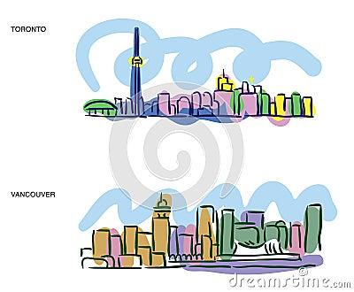 Toronto Vancouver cityscape sketches