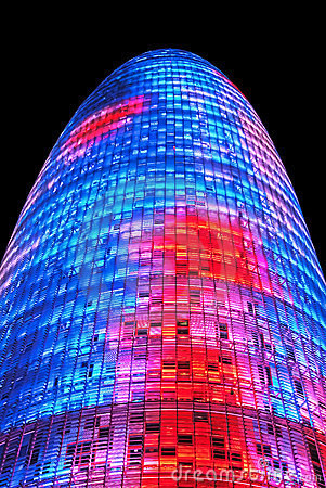 Torre Agbar, Barcelona Editorial Stock Photo