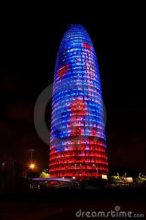 Torre Agbar, Barcelona Editorial Stock Photo