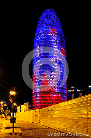 Torre Agbar in Barcelona, Spain Editorial Photography