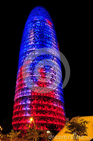 Torre Agbar in Barcelona, Spain Editorial Stock Photo