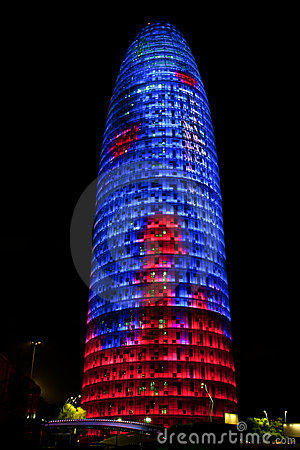 Torre Agbar Tower in Barcelona, Spain Editorial Image