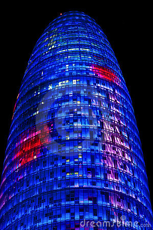 Torre Agbar Tower in Barcelona, Spain Editorial Stock Photo
