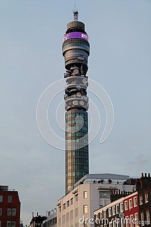 Torre das telecomunicações do BT Londres Foto Editorial