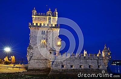 Torre De Belem in Lissabon, Portugal Grenzstein