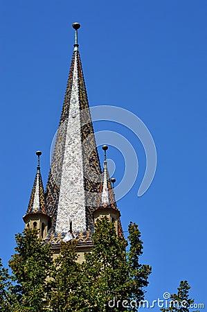 Torre de Bell evangélica da catedral de Sibiu, a Transilvânia