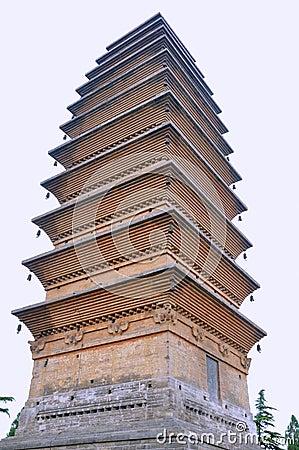 Torre vieja en templo chino del Buddhism