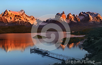Torres del Paine National Park in Patagonia in Southern Chile Stock Photo