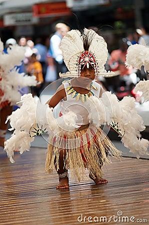 Torres Strait Islander boy in costume Editorial Photography