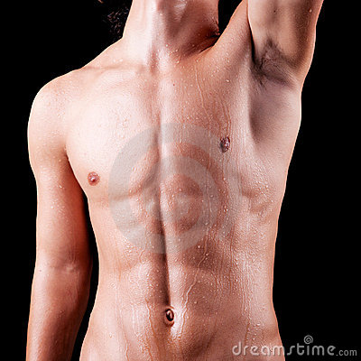 Torso of a sweat man in topless
