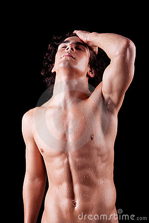 Torso of a sweat man in topless,