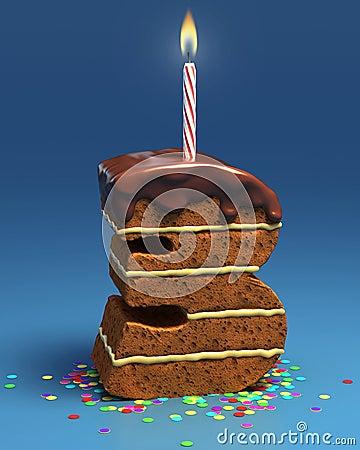 Torta di compleanno a forma di di numero tre con la candela
