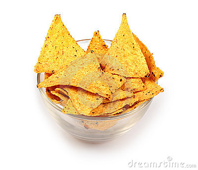 Tortilla chips in glass plate