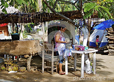Tortilla Maker, Mexican beach Town Editorial Image