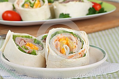 Tortilla wraps with meat and vegetables — Stock Photo © bit245 ...