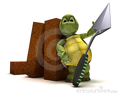 Tortoise with bricks and cement trowl