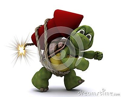 Tortoise lighting a firework