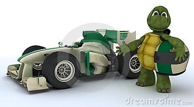 Tortoise with racing car
