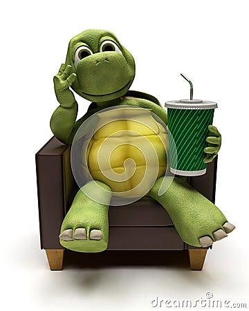 Tortoise relexing in armchair drinking a soda