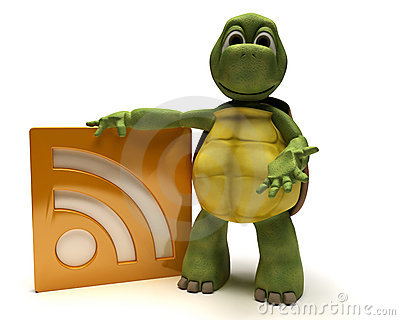 Tortoise with an rss symbol