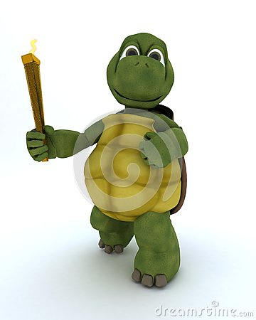 Tortoise running with othe olympic torch