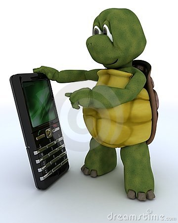 Tortoise with a smart phone