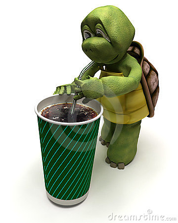Tortoise with a soda and a straw