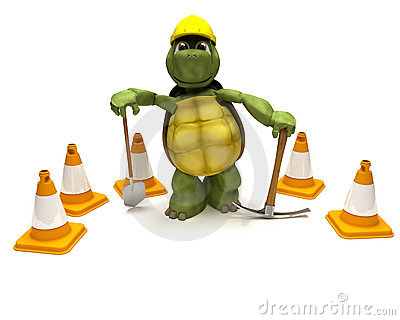 Tortoise with a spade and pick axe
