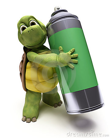Tortoise with spray can