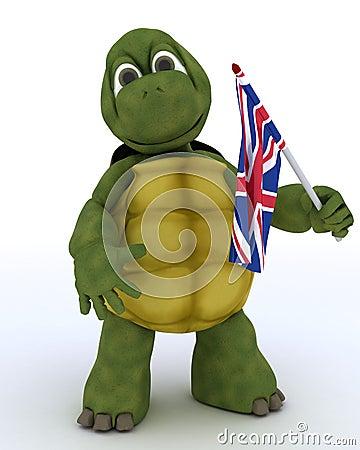 Tortoise with Union Jack Flag