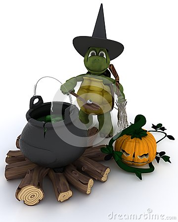 Tortoise witch with cauldron of eyeballs