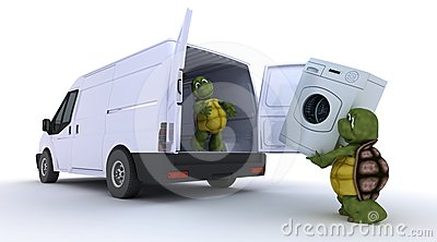 Tortoises loading a washing machine into a van