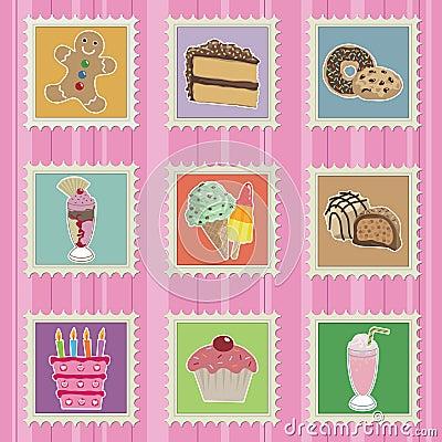 Tortów znaczków cukierki
