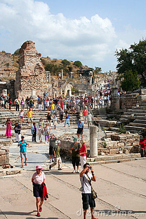 Toruists in ephesus- izmir-turkey Editorial Stock Photo