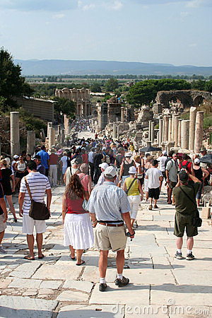 Toruists in ephesus- izmir-turkey Editorial Image