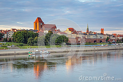 Torun old town reflected in Vistula river