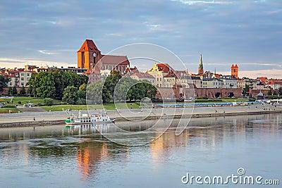 Torun old town reflected in Vistula river