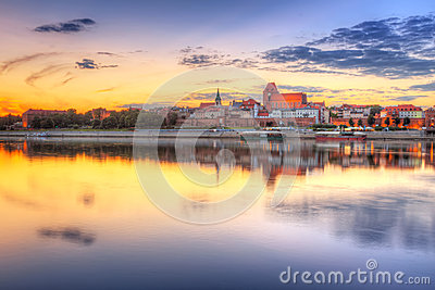 Torun old town at sunset