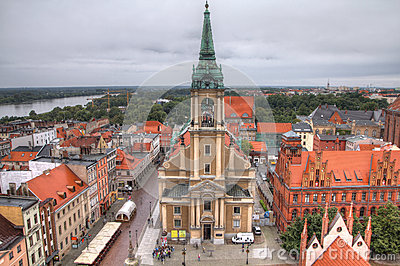 Poland - Torun. Old town skyline - aerial view from town hall tower ...