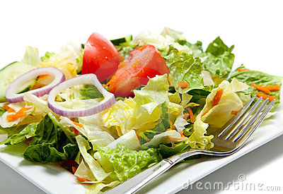 Tossed Salad On A Plate With A Fork Royalty F