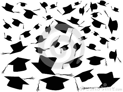 Tossing graduation caps background