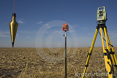 Total station, prism and plumb-bob