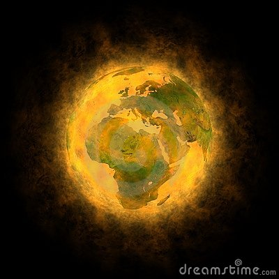 Total warming of planet Earth - Europe Africa Asia