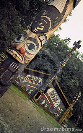Free Totem Poles And Clan House Stock Photo - 275660